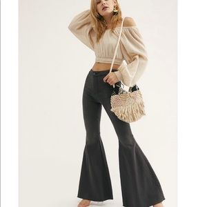 Free People Just Float On Black 70s Flare Jeans